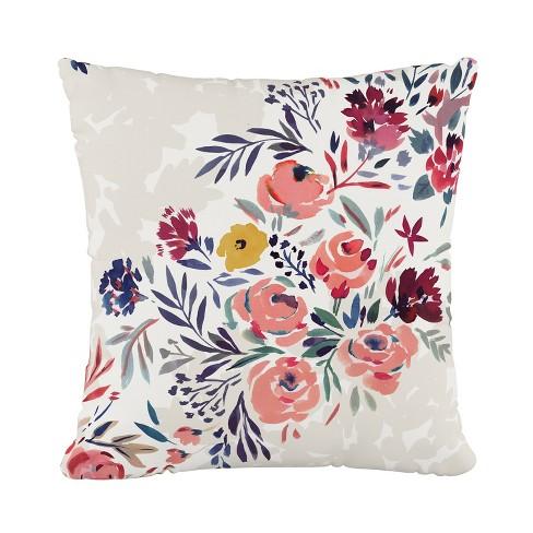 Multi Floral Throw Pillow