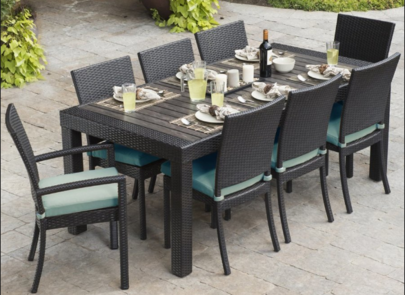 rattan cane wood outdoor dining set