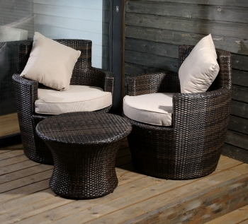 Clean and maintain synthetic rattan garden furniture -