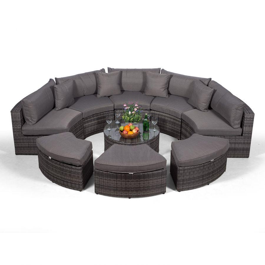 Monaco Semi Circle Rattan Garden Sofa Set with Ottomans