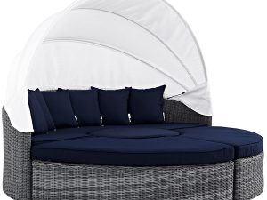 Modern Contemporary Urban Outdoor Patio Balcony Canopy Umbrella Daybed Sofa, Navy Blue, Rattan