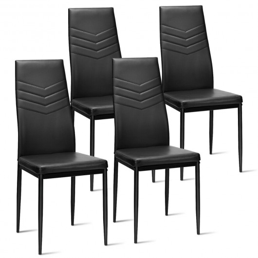 Set of 4 PVC Dining Side Metal Frame Chairs