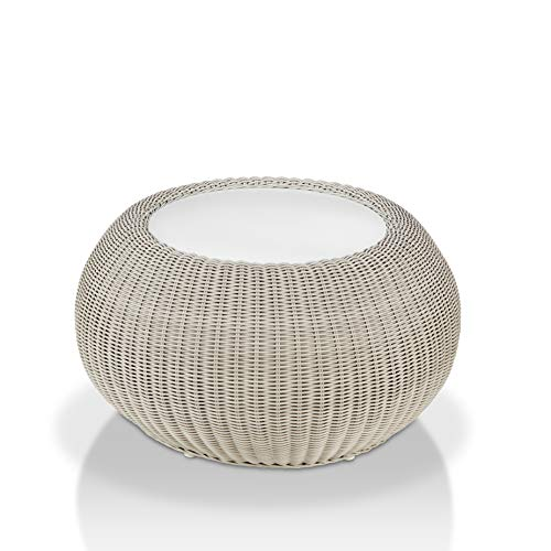 Wicker outdoor side table with glass center