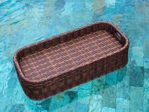 Breakfast tray in swimming pool, floating breakfast