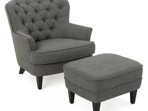 Noble House Tafton Grey Fabric Tufted Club Chair and Ottoman