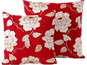 Roses Chenille Red Floral Cushions With Covers